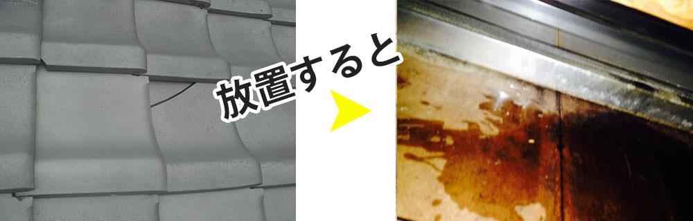 瓦割れを放置すると、雨漏りして、木材が腐ってしまいます。